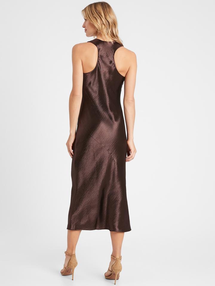 Kadın Kahverengi Saten Midi Slip Elbise