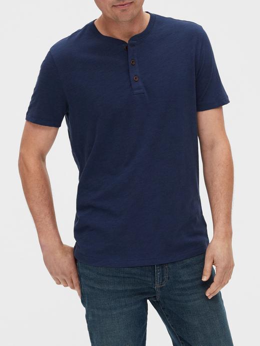 Erkek Lacivert Henley Kısa Kollu T-Shirt