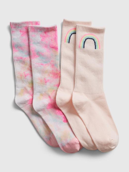 Kız Çocuk Çok Renkli 2'li Desenli Çorap Seti