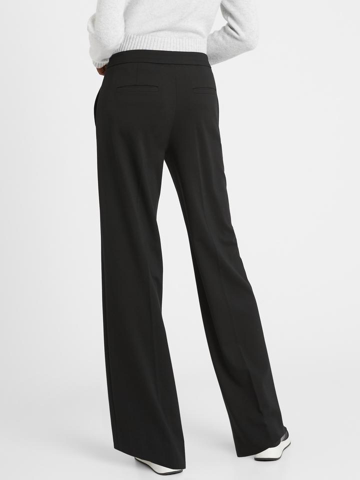 Kadın Siyah Slim Wide-Leg Ponte Pantolon