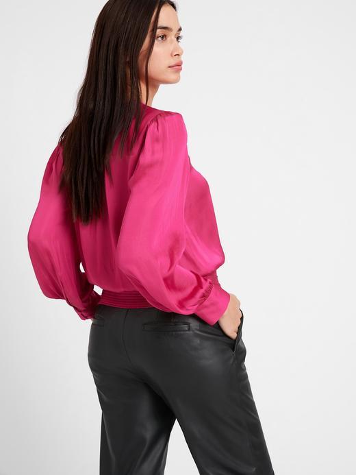Kadın Mavi Saten Anvelop Bluz