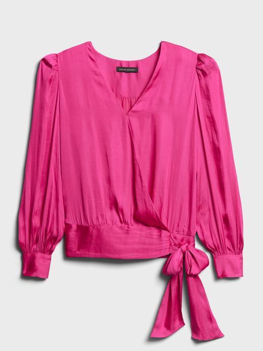 Kadın Pembe Saten Anvelop Bluz