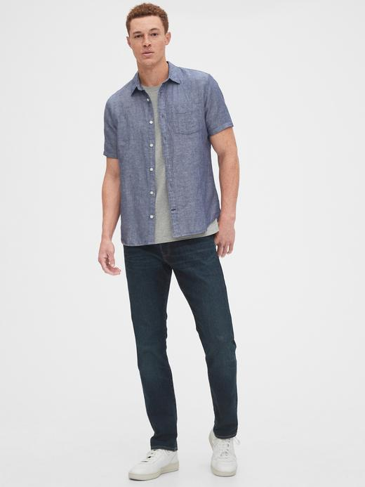 Erkek  Keten Karışımlı Kısa Kollu Gömlek