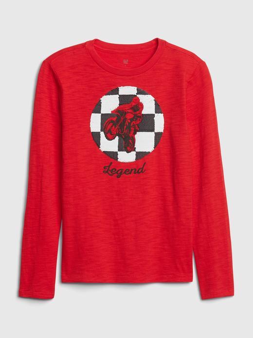 Erkek Çocuk Kırmızı Uzun Kollu Grafik T-Shirt