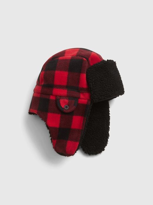 Erkek Çocuk Siyah Sherpa Astarlı Ekose Şapka