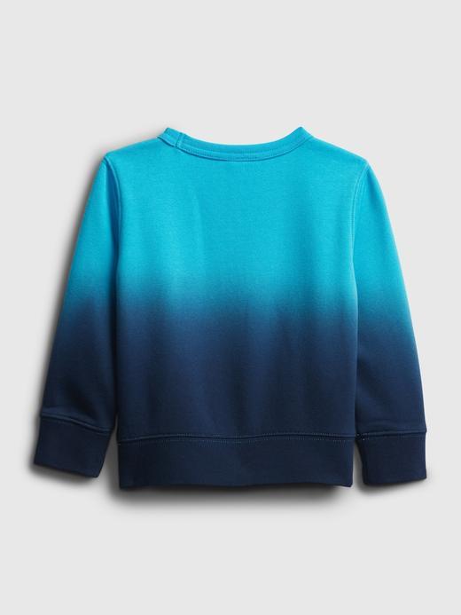 Erkek Bebek Mavi Dip-Dye Yuvarlak Yaka Sweatshirt