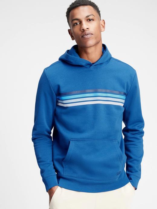 Erkek Mavi Şerit Detaylı Kapüşonlu Sweatshirt