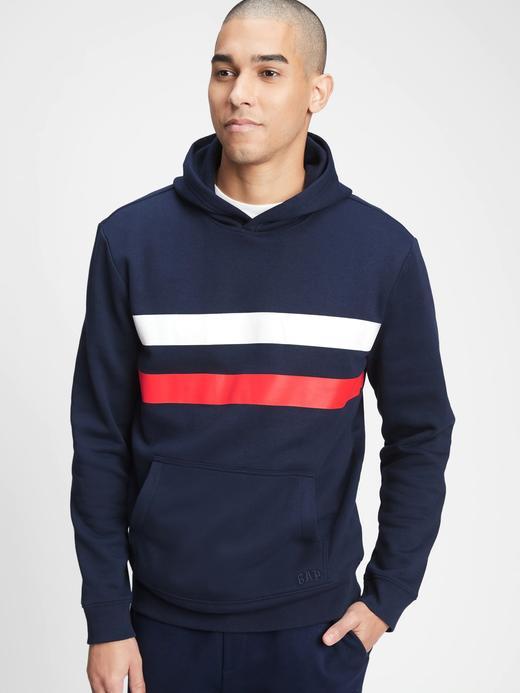Erkek Lacivert Şerit Detaylı Kapüşonlu Sweatshirt