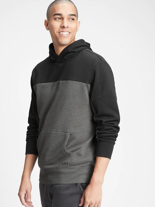 Erkek Siyah Renk Bloklu Kapüşonlu Sweatshirt