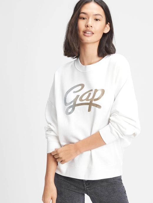 Kadın Beyaz Gap Logo Yuvarlak Yaka Sweatshirt