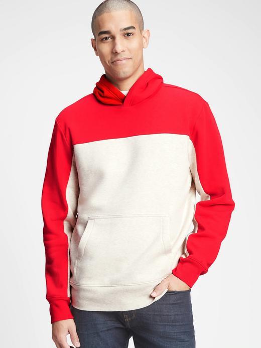 Erkek Kırmızı Renk Bloklu Kapüşonlu Sweatshirt