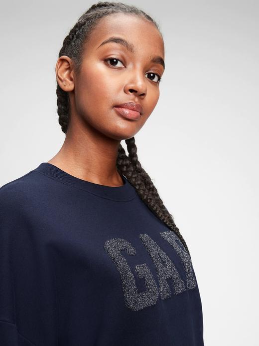 Kadın NAVY UNIFORM Gap Logo Yuvarlak Yaka Sweatshirt