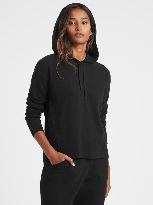 Kadın BLACK K-100 Kapüşonlu Triko Sweatshirt