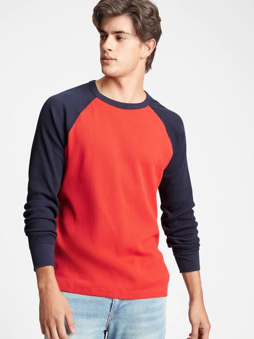 Erkek Kırmızı Uzun Kollu Raglan T-Shirt