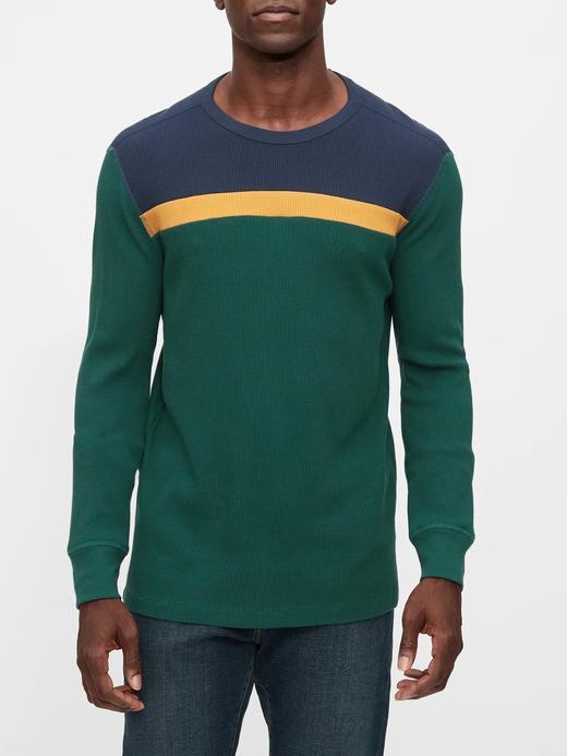 Erkek Yeşil Renk Bloklu Yuvarlak Yaka T-Shirt