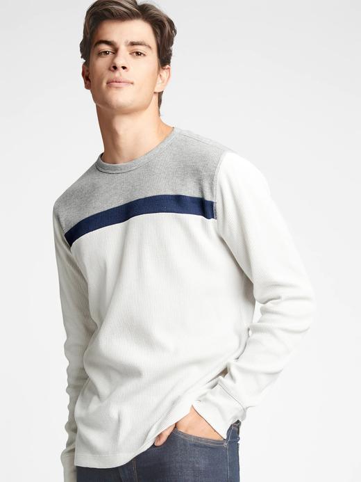 Erkek Beyaz Renk Bloklu Yuvarlak Yaka T-Shirt