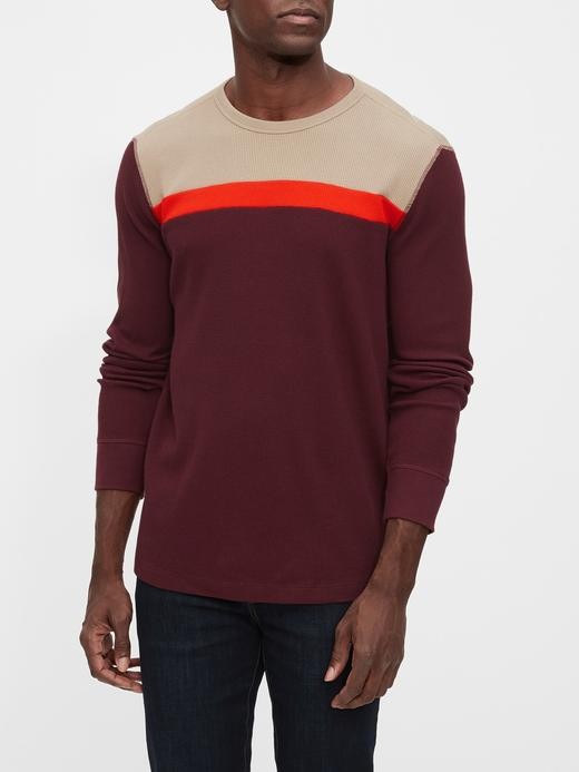 Erkek Kırmızı Renk Bloklu Yuvarlak Yaka T-Shirt