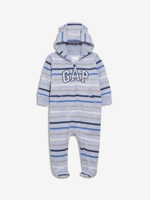 Erkek Bebek Mavi Gap Logo Uzun Kolu Tulum