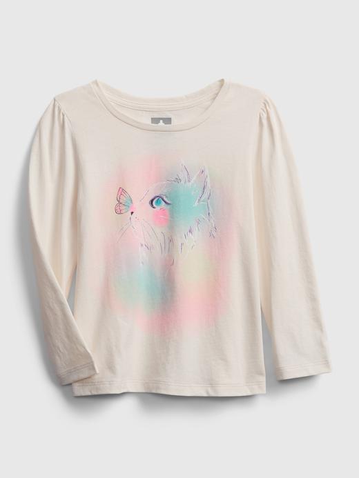 Kız Bebek Bej Uzun Kollu Grafik T-Shirt