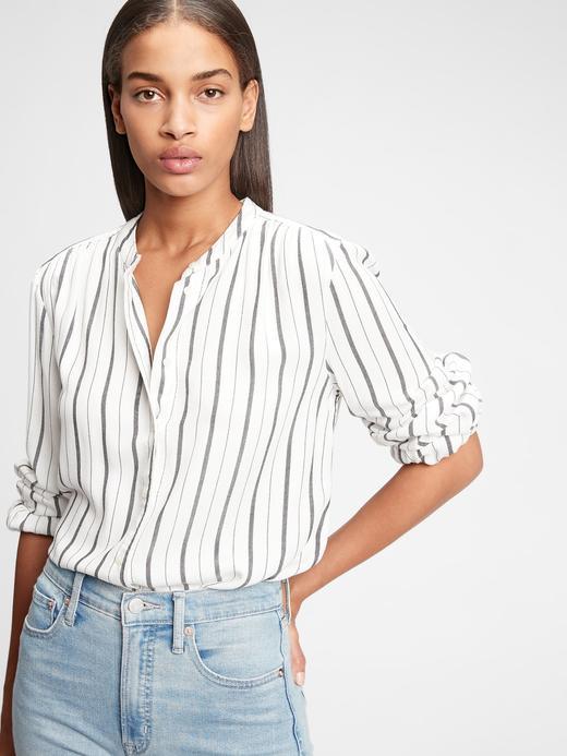 Kadın Beyaz Çizgili Gömlek