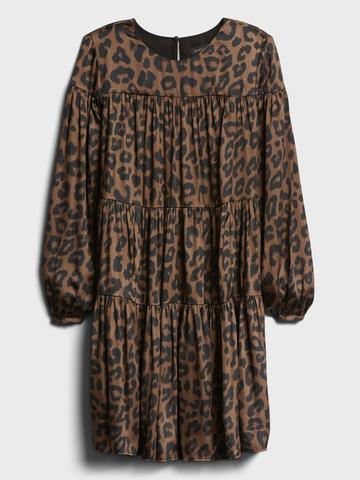 Kadın kahverengi Leopar Desenli Saten Elbise