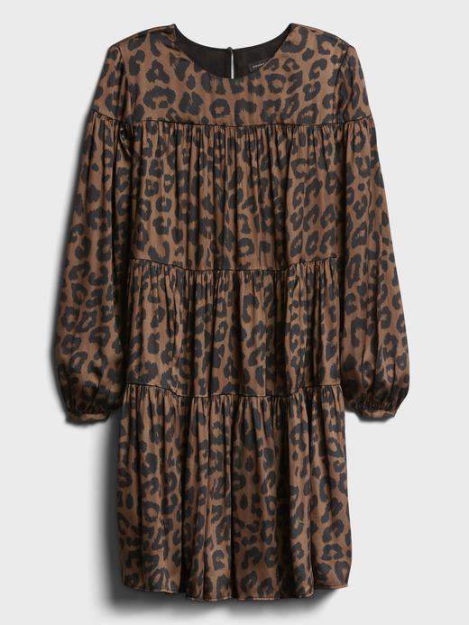 Kadın  Leopar Desenli Saten Elbise