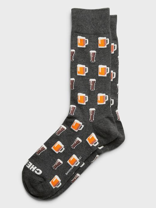 Erkek DARK HEATHER GREY Desenli Çorap