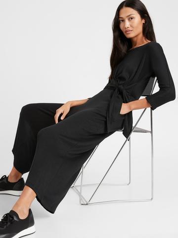 Kadın Siyah Wide Leg Tulum