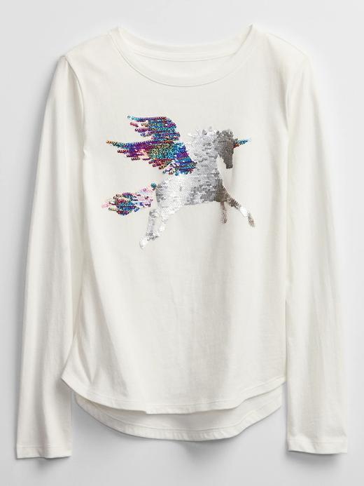 Kız Çocuk Beyaz Değişen Pullu Uzun Kollu T-Shirt