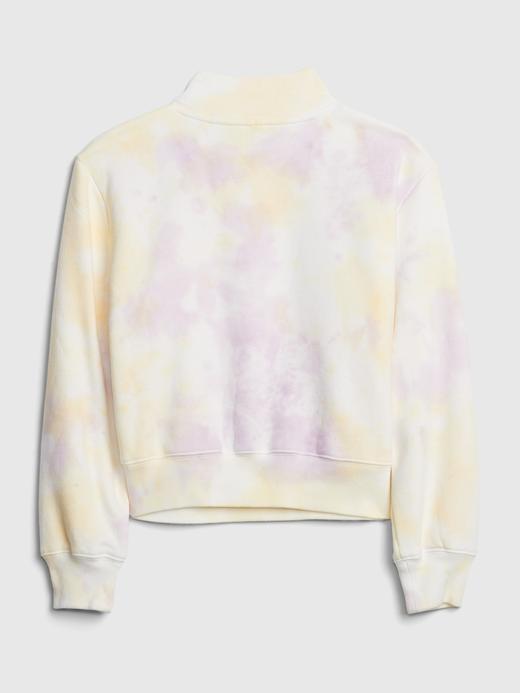 Kız Çocuk Sarı Tie-Dye Yarım Fermuarlı Sweatshirt