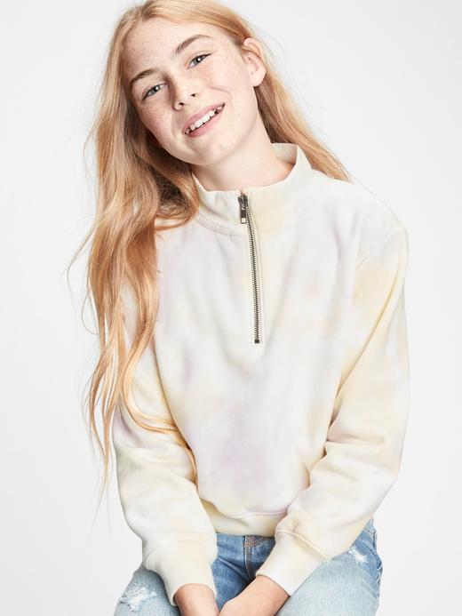 Kız Çocuk Yeşil Tie-Dye Yarım Fermuarlı Sweatshirt