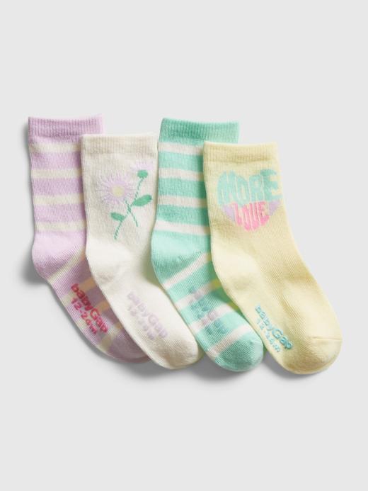 Bebek Çok Renkli 4'lü Desenli Çorap Seti