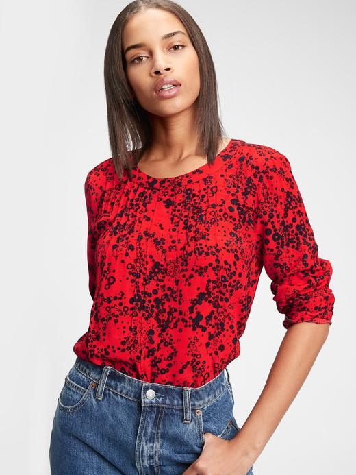 Kadın Kırmızı Desenli Uzun Kollu Bluz