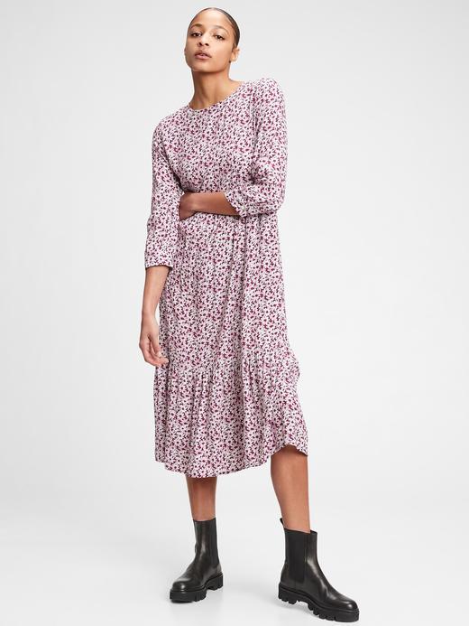 Kadın  3/4 Kollu Desenli Elbise