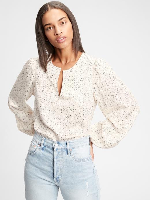 Kadın  V Yaka Desenli Bluz