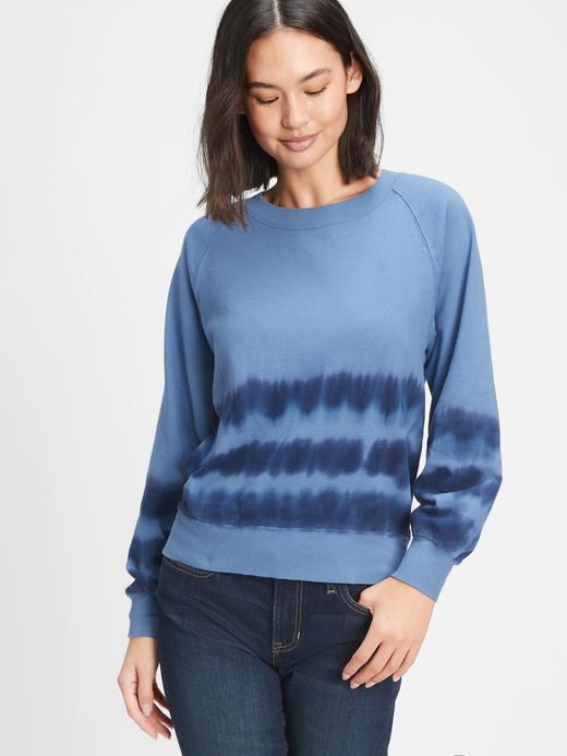 Kadın Mavi Tie-Dye Yuvarlak Yaka Sweatshirt