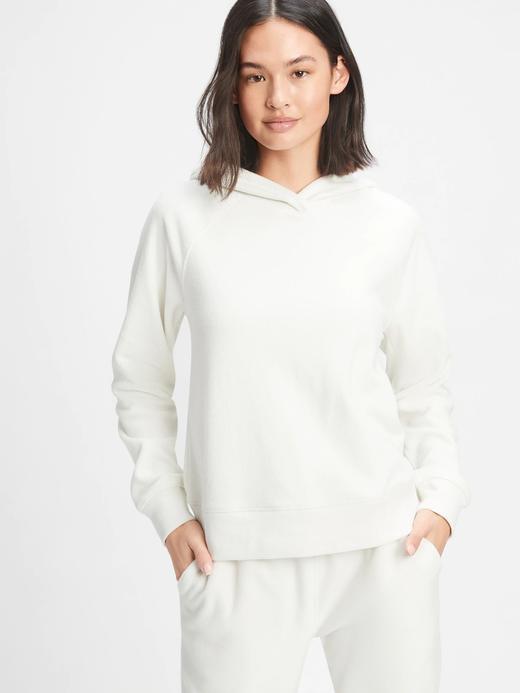 Kadın Beyaz Kapüşonlu Polar Sweatshirt
