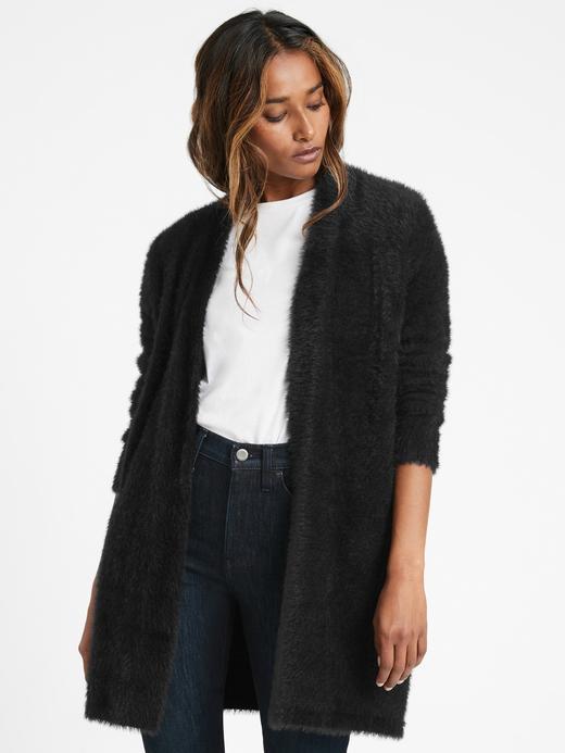 Kadın Siyah Fuzzy Önü Açık Hırka
