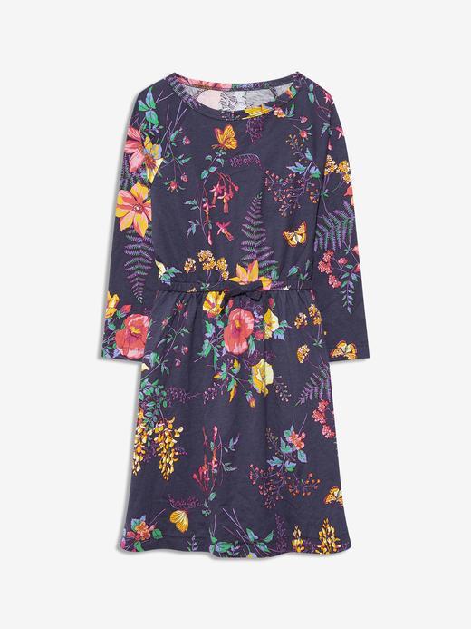 Kız Çocuk Lacivert 3/4 Kollu Desenli Elbise