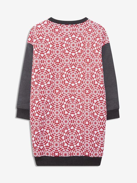 Kız Çocuk Gri Desenli Sweatshirt Elbise
