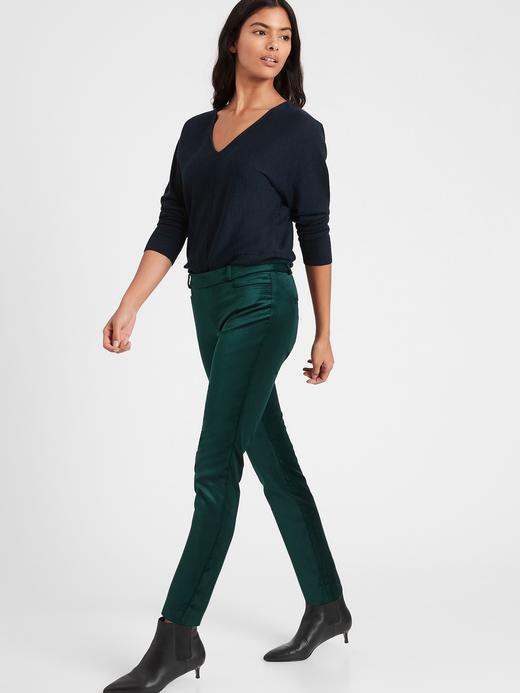 Kadın Yeşil Mid-Rise Skinny Kadife Pantolon