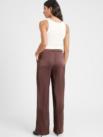 Kadın Kahverengi Wide-Leg Saten Pull-On Pantolon