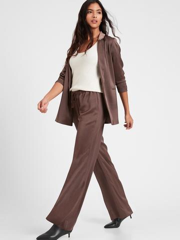 Kadın Kahverengi Wide-Leg Saten Pull On Pantolon