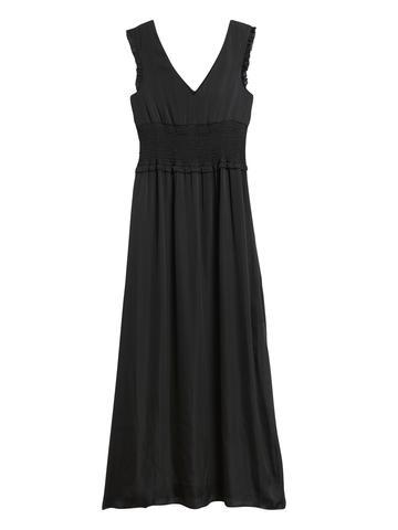 Kadın BLACK K-100 Saten Maxi Elbise