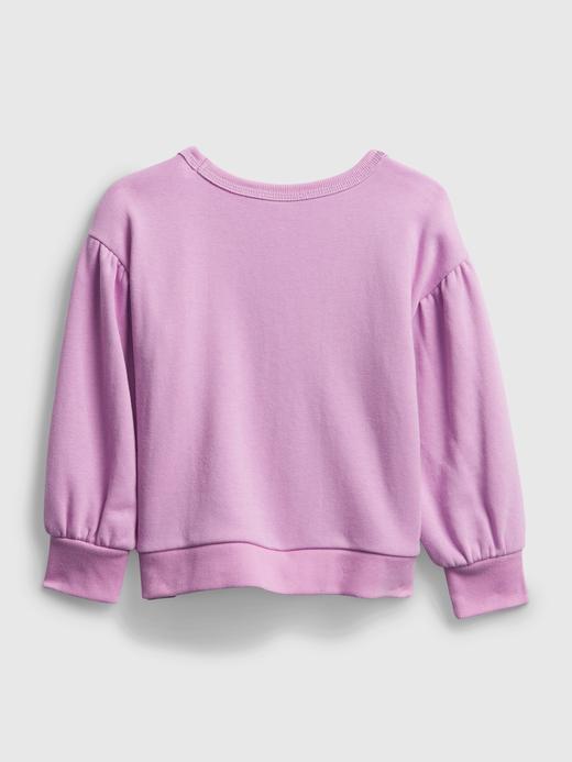 Kız Bebek Mor Yuvarlak Yaka Grafik Sweatshirt