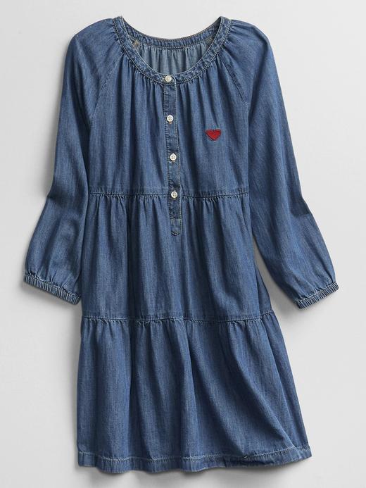Kız Çocuk Mavi Denim Uzun Kollu Elbise