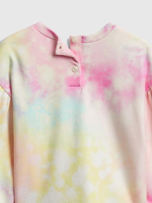Kız Bebek pembe Batik Desenli Yuvarlak Yaka Sweatshirt