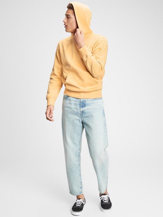 Erkek Sarı Vintage Soft Pullover Kapüşonlu Sweatshirt