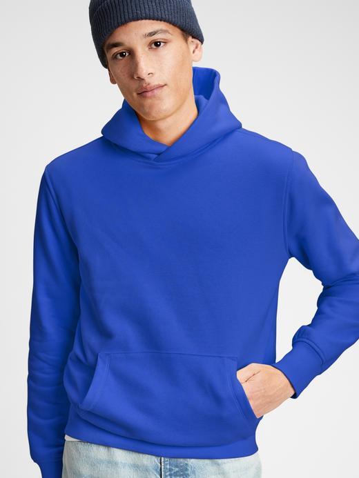 Erkek Mavi Vintage Soft Pullover Kapüşonlu Sweatshirt