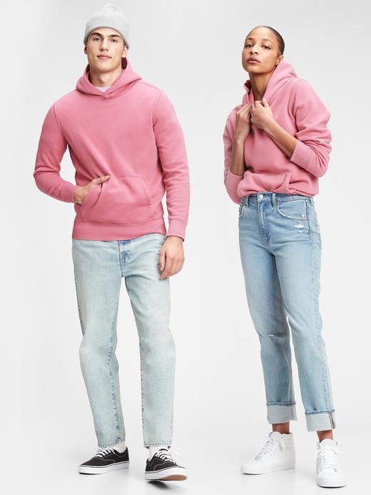 Erkek Pembe Vintage Soft Pullover Kapüşonlu Sweatshirt